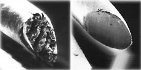 волос под микроскопом после стрижки обычными и горячими ножницами