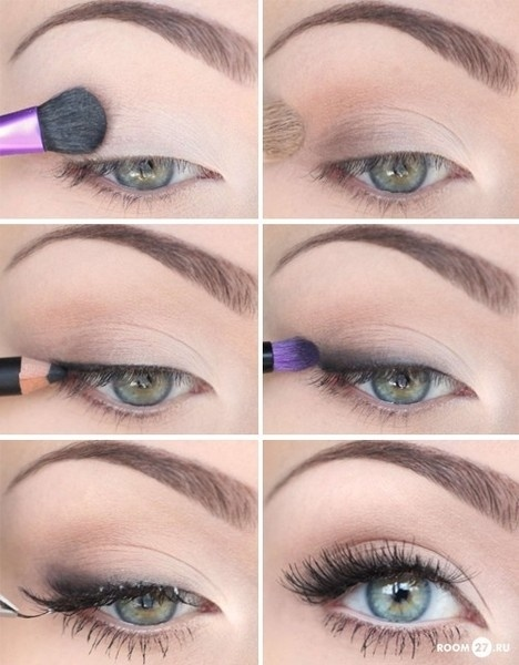 Дневной макияж для зеленых глаз с пошаговым 100