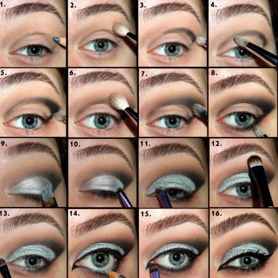макияж для темно голубых глаз