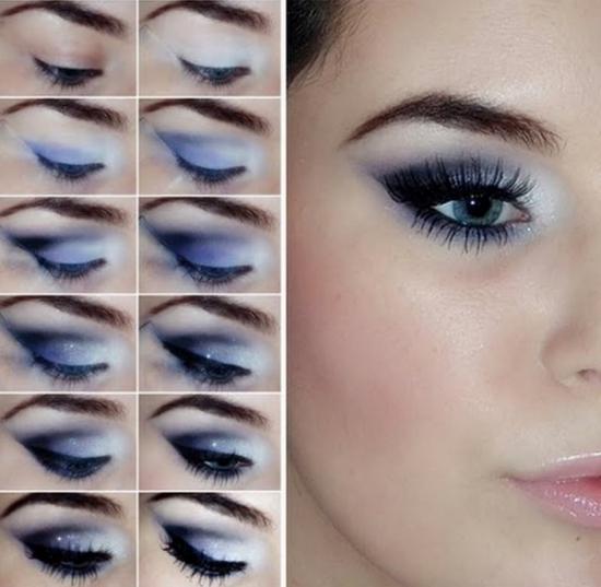 Фиолетовый макияж для серых глаз и