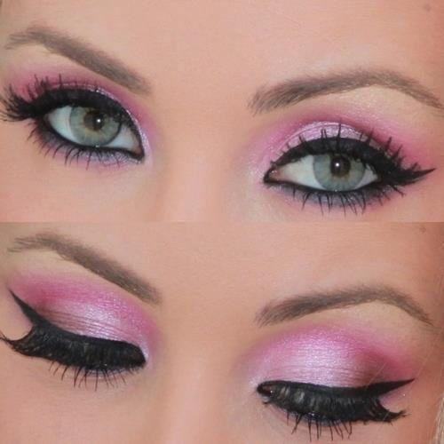 Розовый макияж для серых глаз