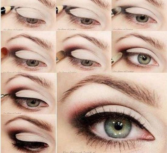 Макияж для серых глаз с нависшим веком и русых волос пошагово 44