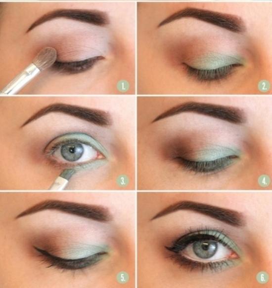 Легкий макияж для зеленых глаз пошаговое фото