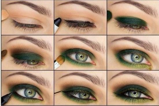 Зеленый макияж для серых глаз