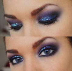 Синий макияж для серых глаз