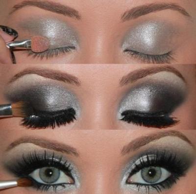 Темный макияж для серых глаз
