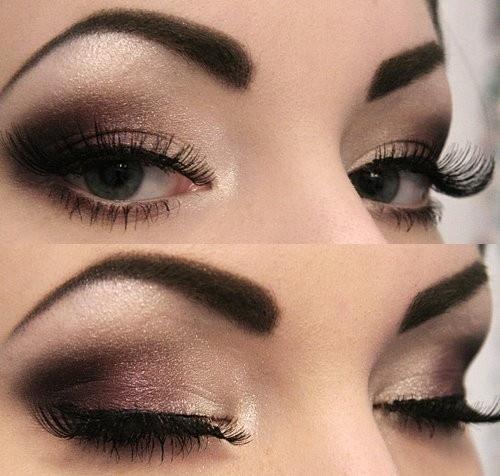 Коричневый макияж для серых глаз