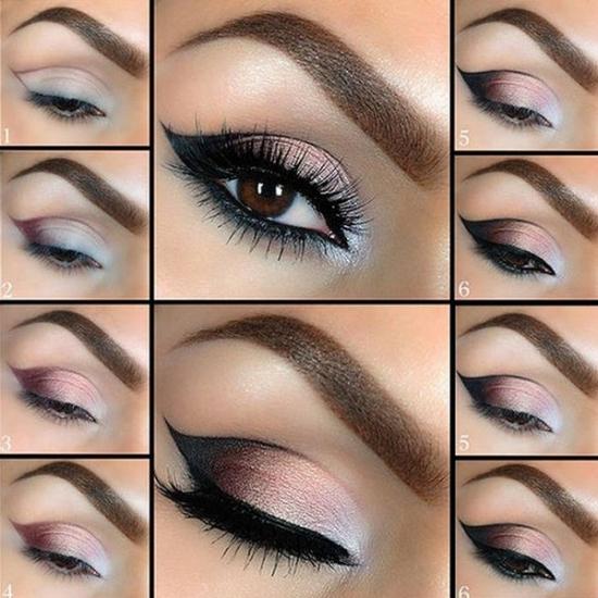 Вечерний макияж для узких глаз