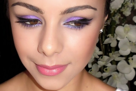 Свадебный макияж в фиолетовых тонах