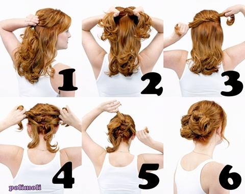 Греческая прическа для волос средней длины