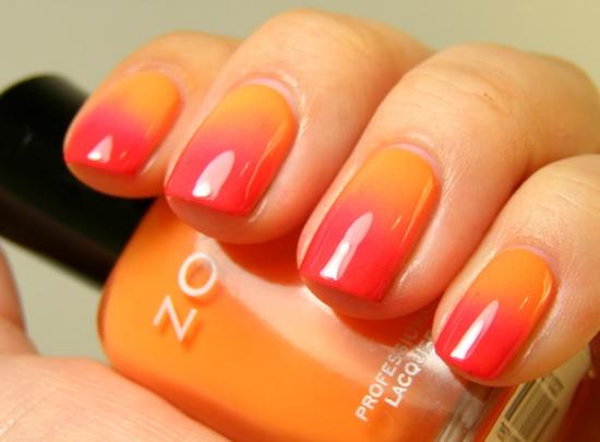 Маникюр на короткие ногти с переходом цвета