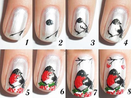 Зимний дизайн ногтей пошаговое