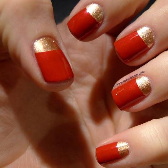Красный с золотым лунный маникюр фото