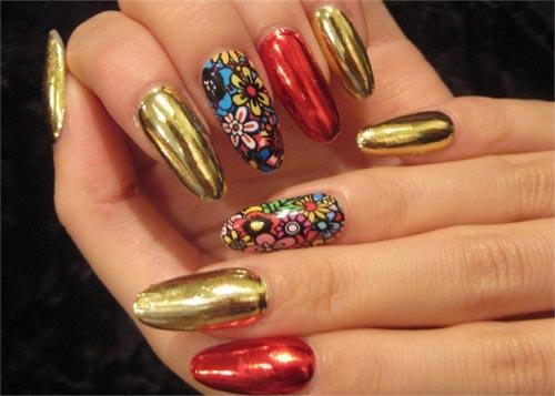 Фото дизайна ногтей с фольгой