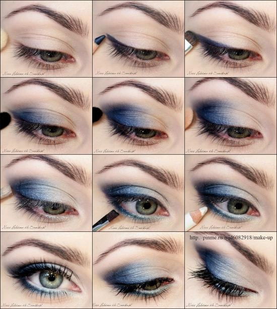 Макияж на голубые глаза дневной макияж