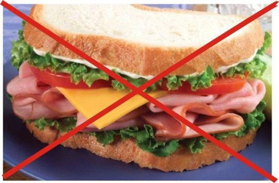 Запрещённые продукты при бессолевой диете