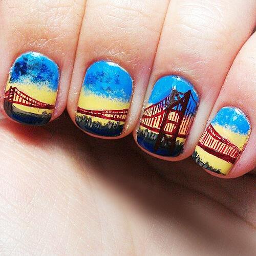 градиент на ногтях с рисунком
