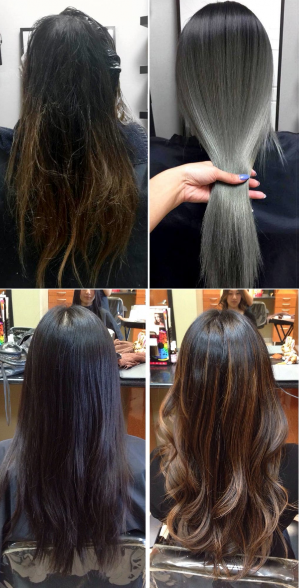 Фото до и после балаяж